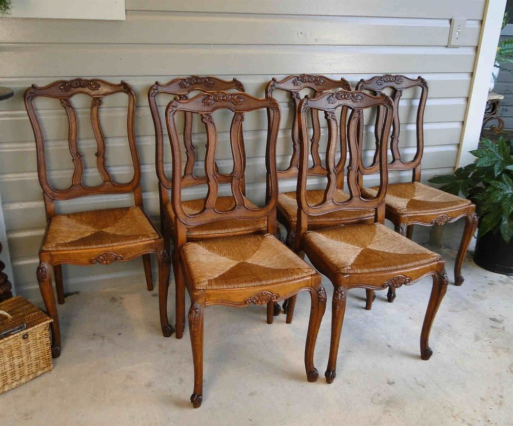french country dining chairs with rush seats