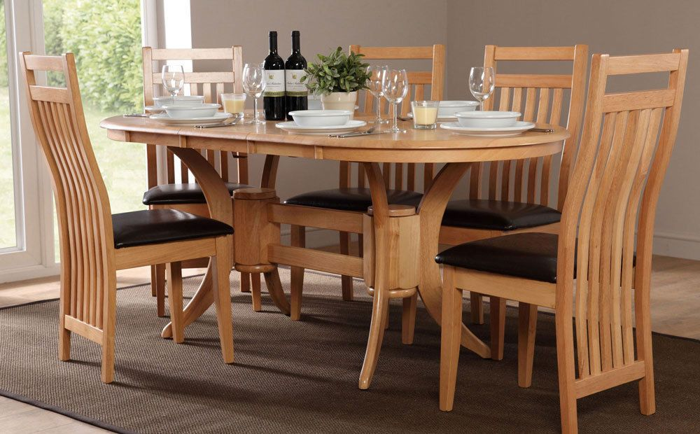 oak dining table and chairs set