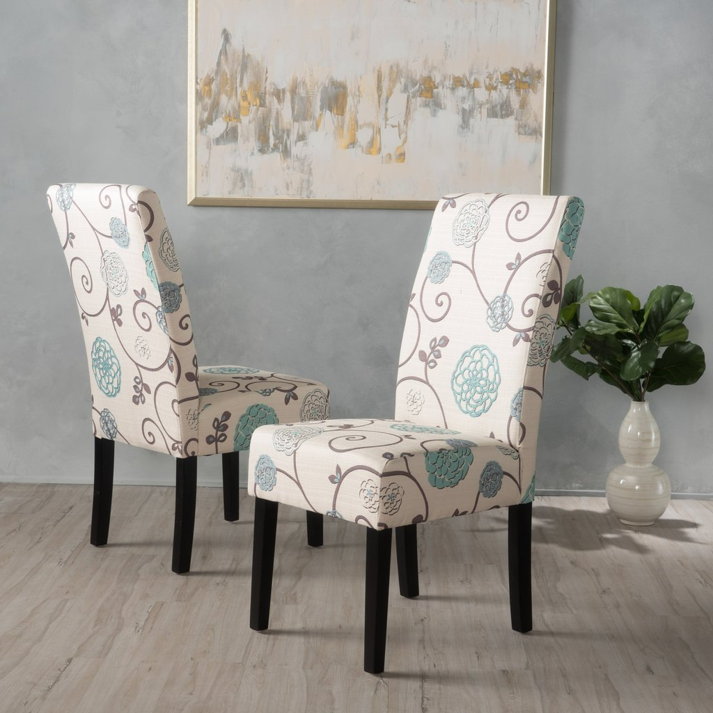 blue and white fabric dining chairs