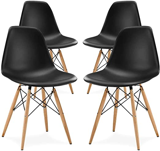 black eames style dining chair