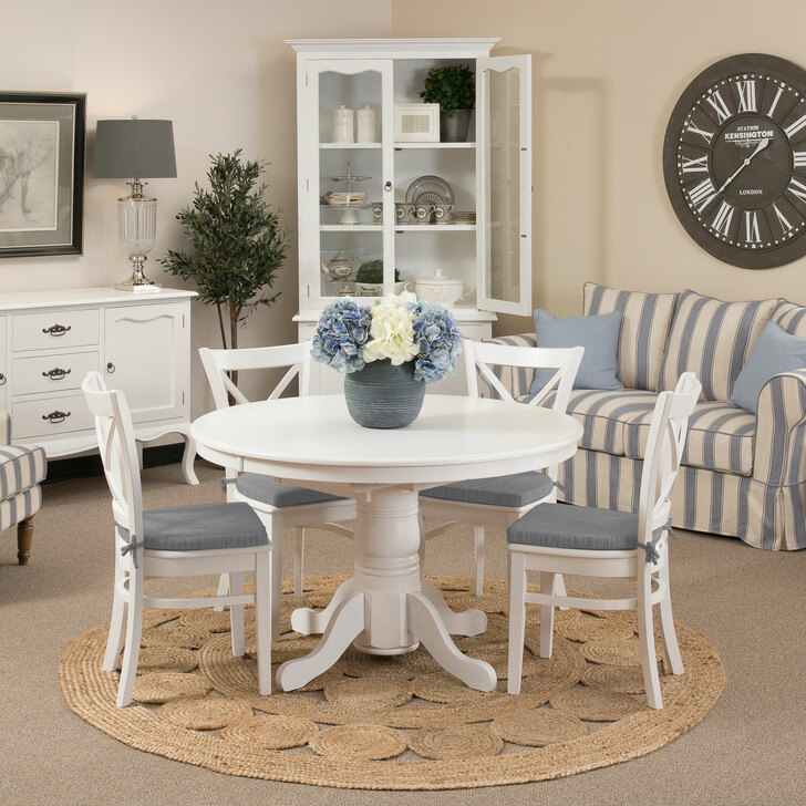 french provincial round extendable dining table