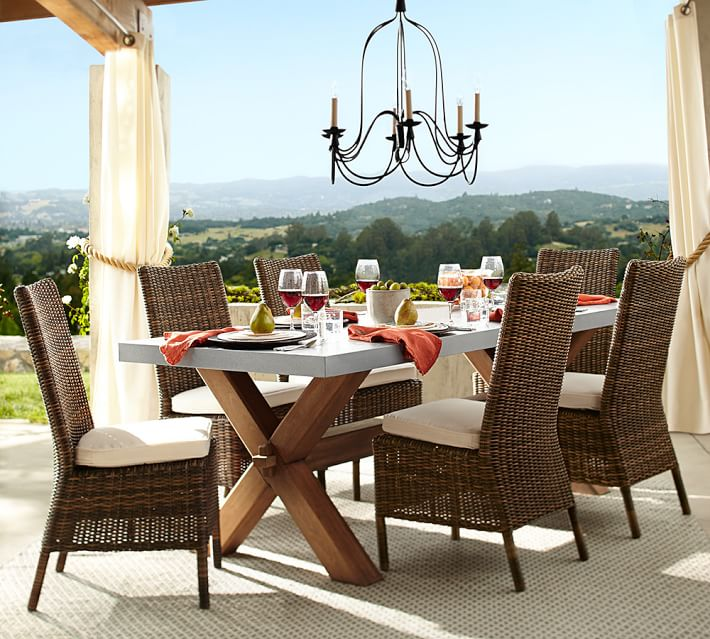 zinc top outdoor dining table