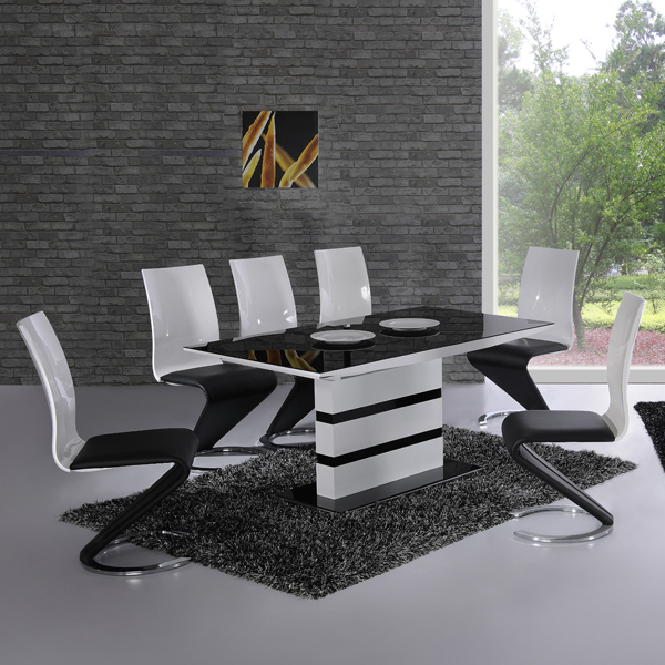 black glass dining table and 6 chairs cheap