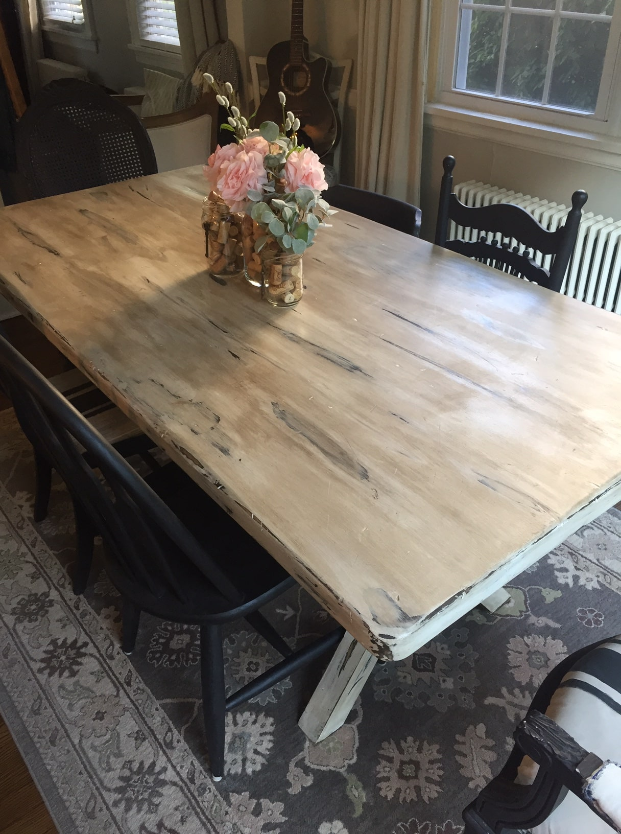 painted wood dining table