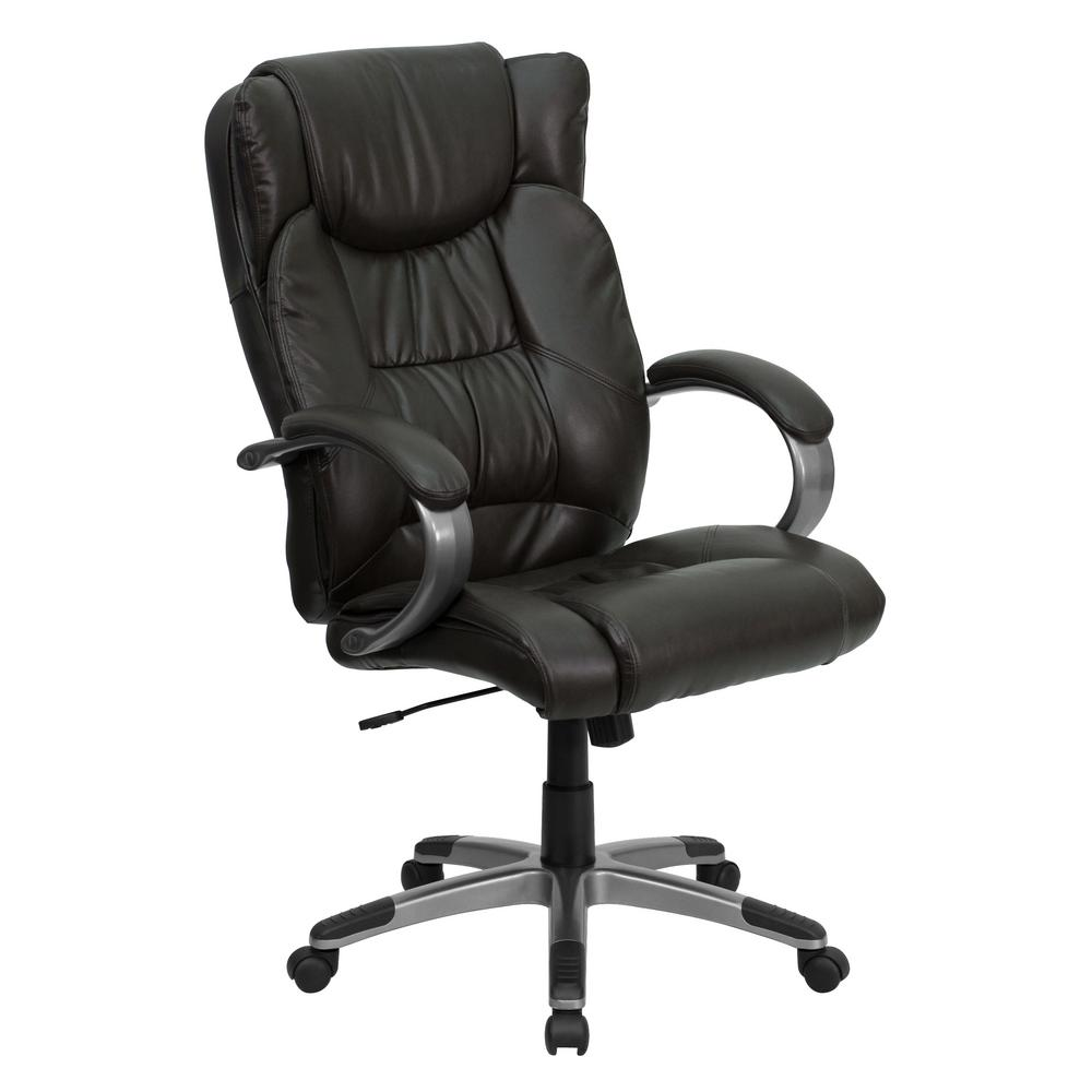 brown leather high back office chair