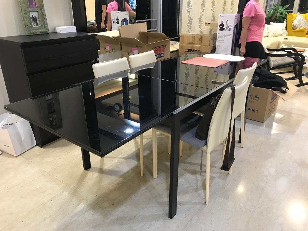 cheap black glass dining table
