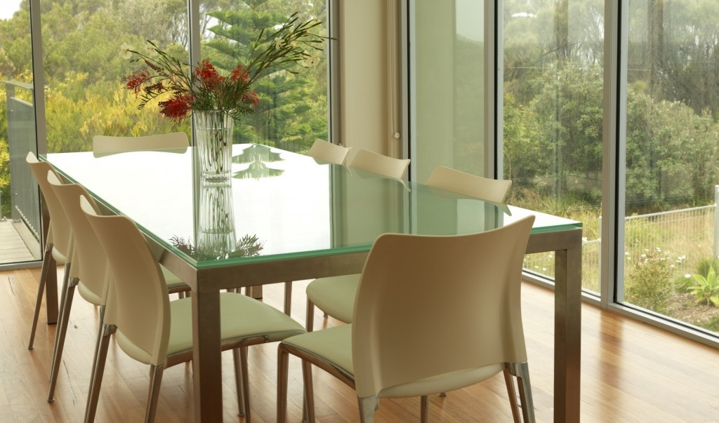 glass top on wood dining table