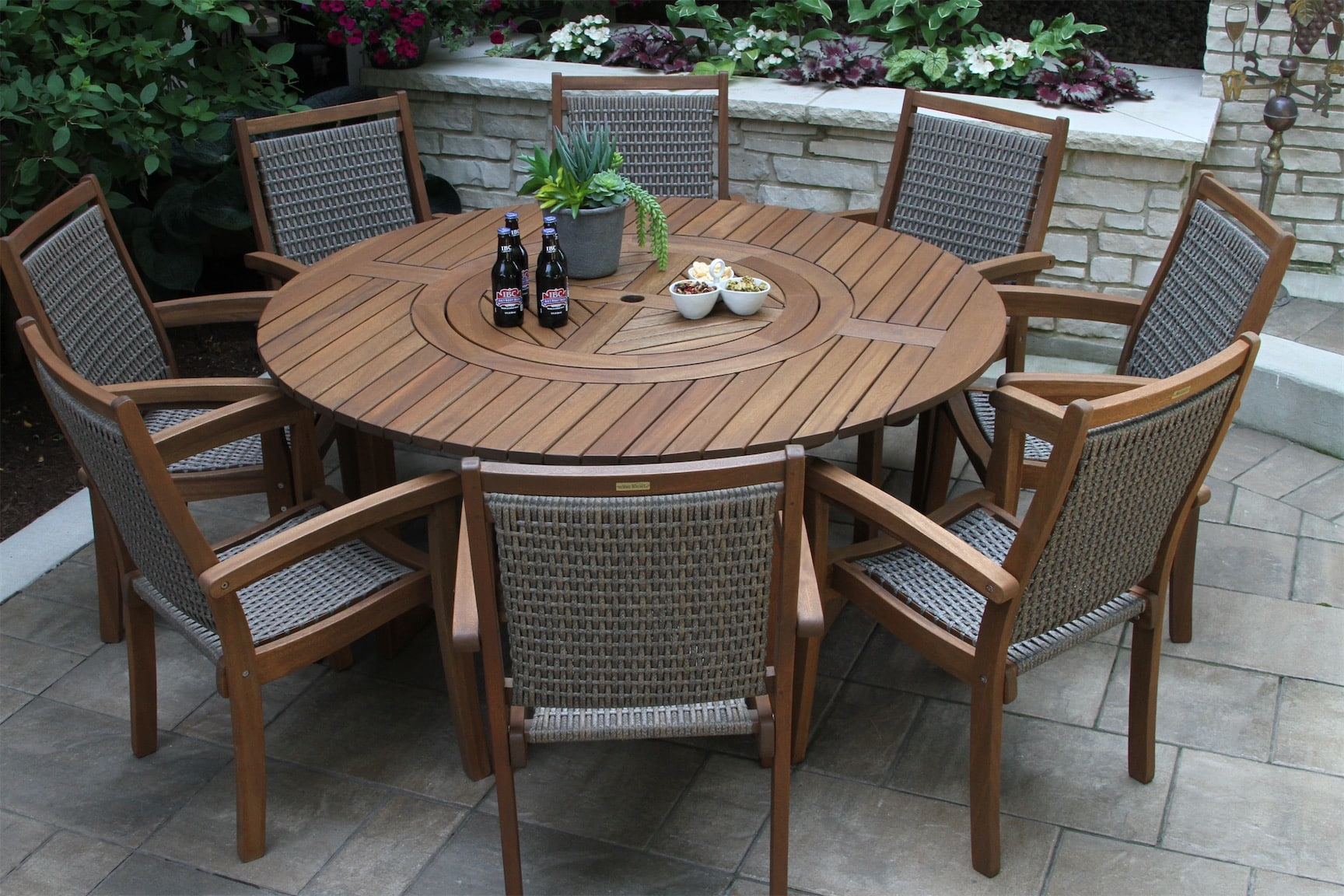 round dining table with built in lazy susan