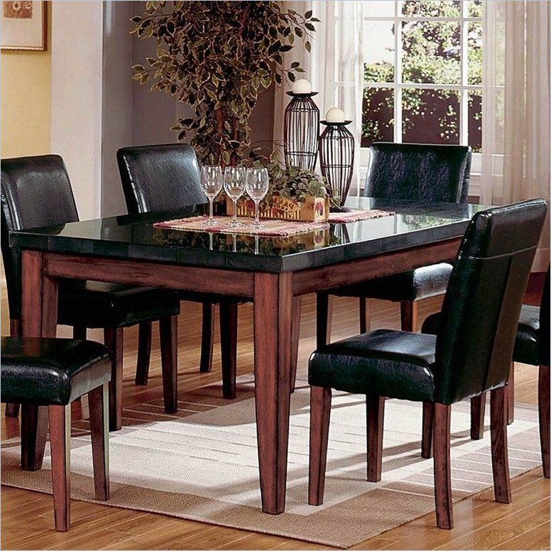 granite and wood dining table