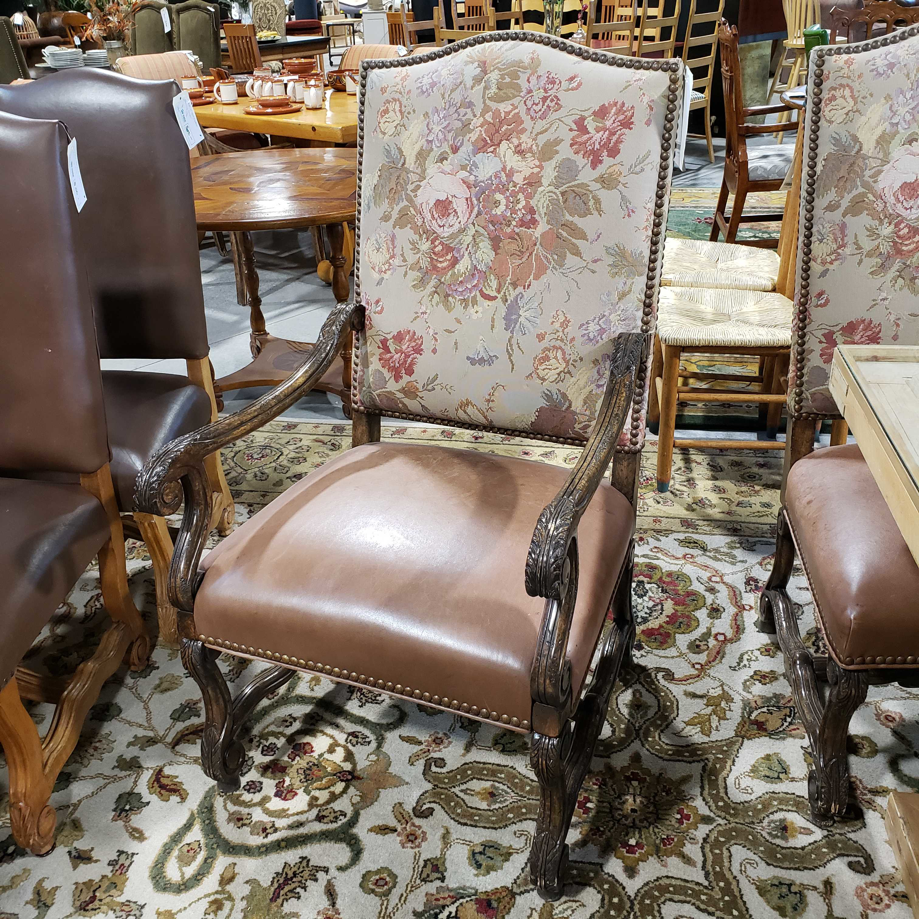 upholstered nailhead dining chairs
