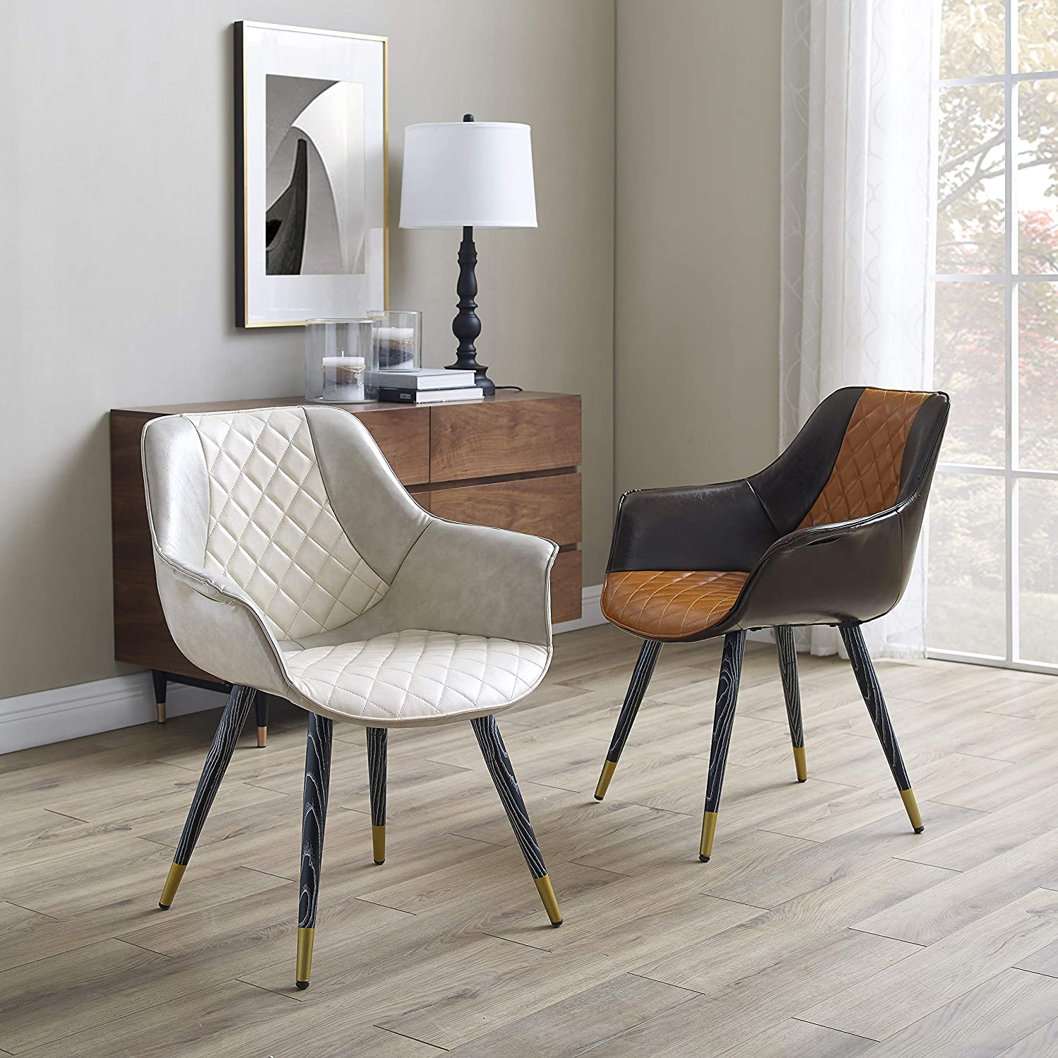 beige leather dining room chairs