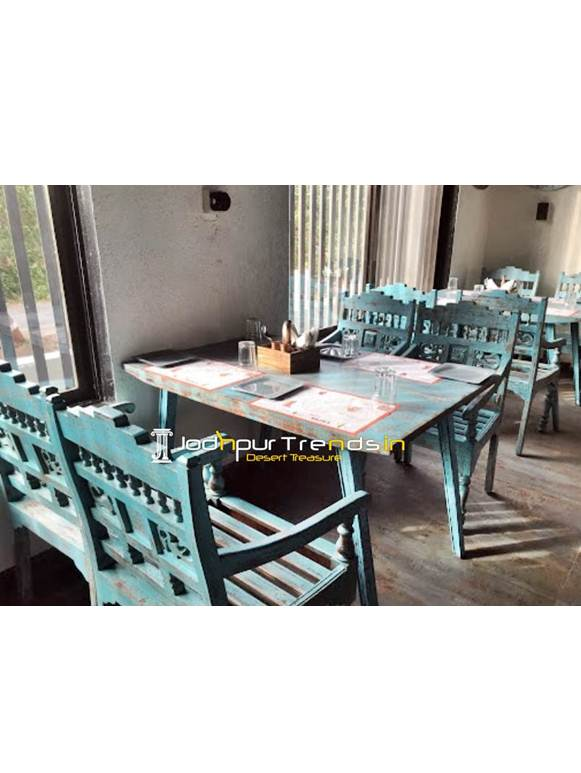 distressed wood dining table set