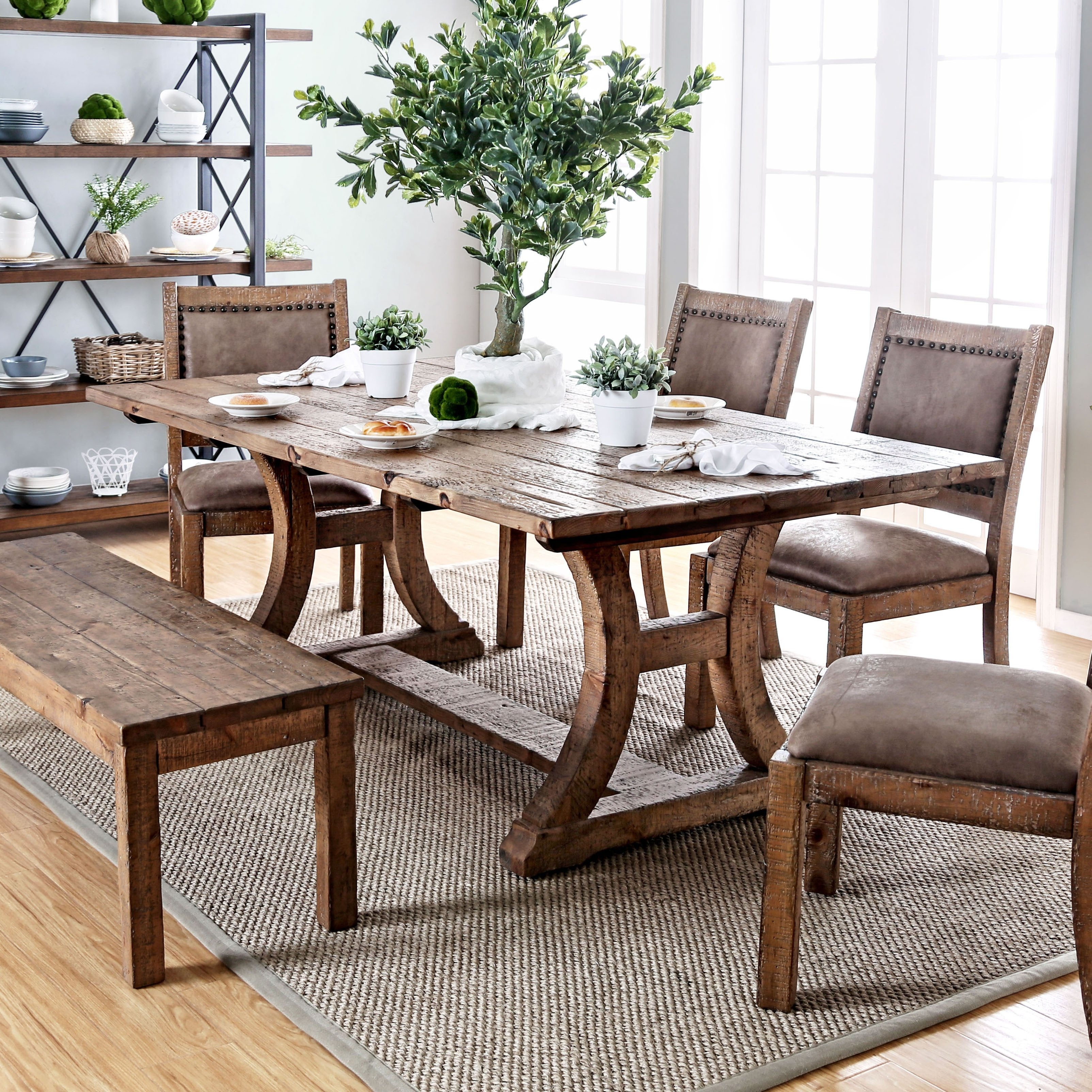 Furniture Of America Sail Rustic Pine Solid Wood Dining Table On Sale Overstock 11149919 96 Inch