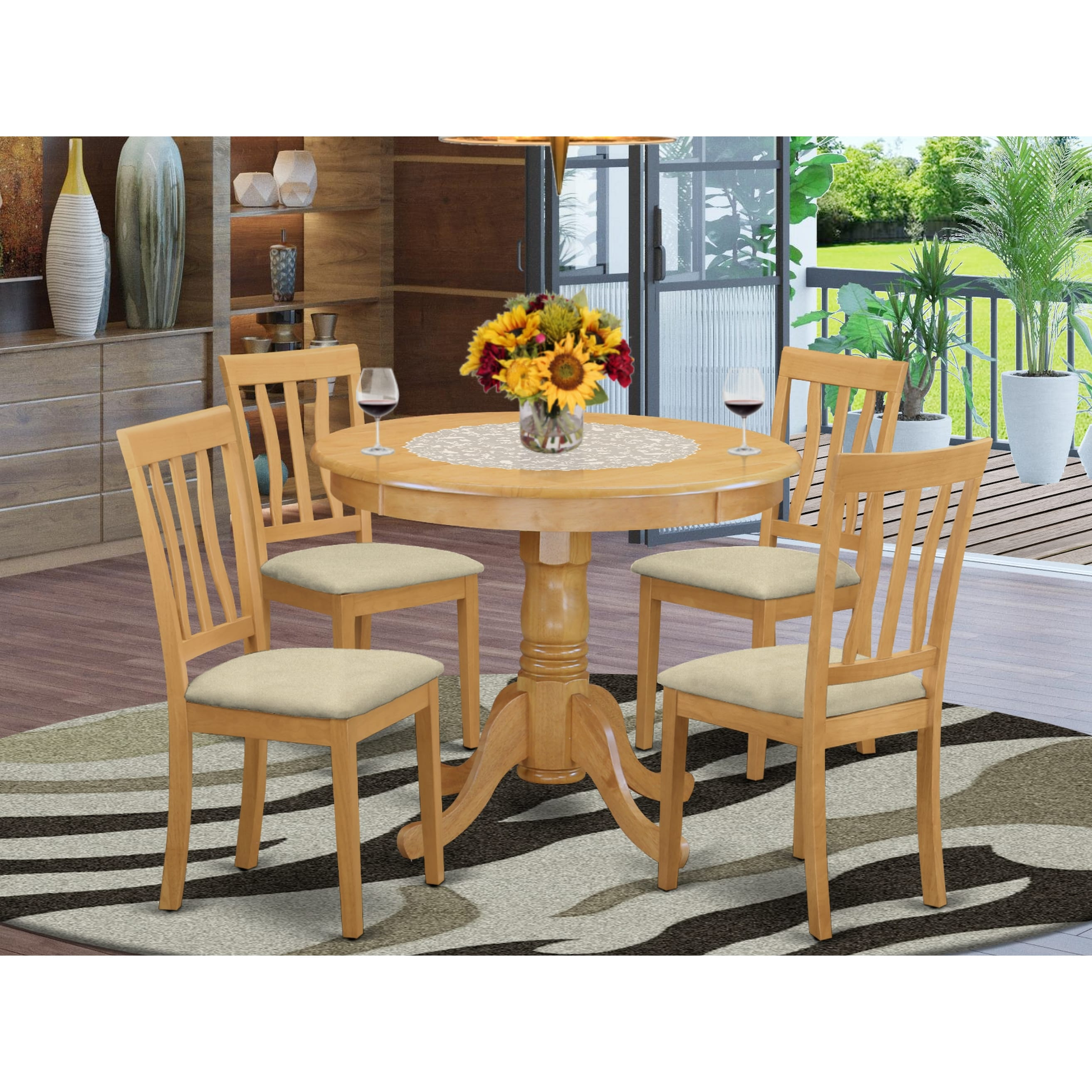 5 Pc Dining Set Kitchen Table And 4 Chairs In Oak Finish Overstock 10201204