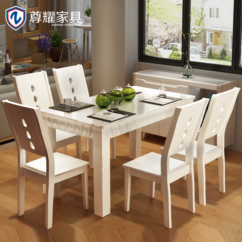 glass and wood dining table and chairs