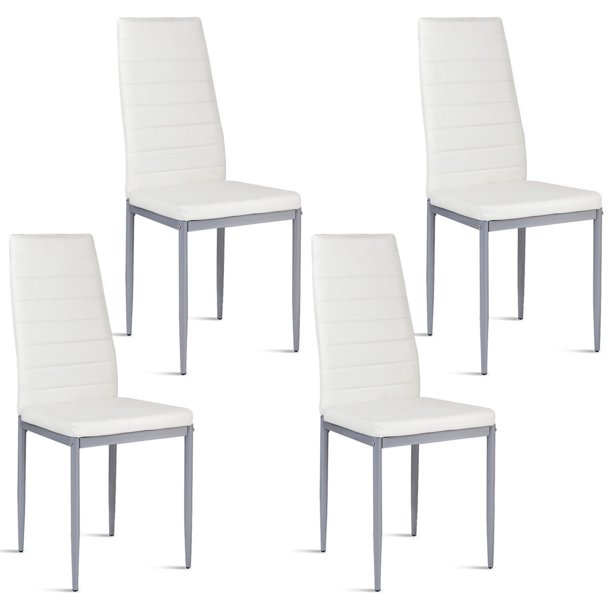 white leather chairs dining