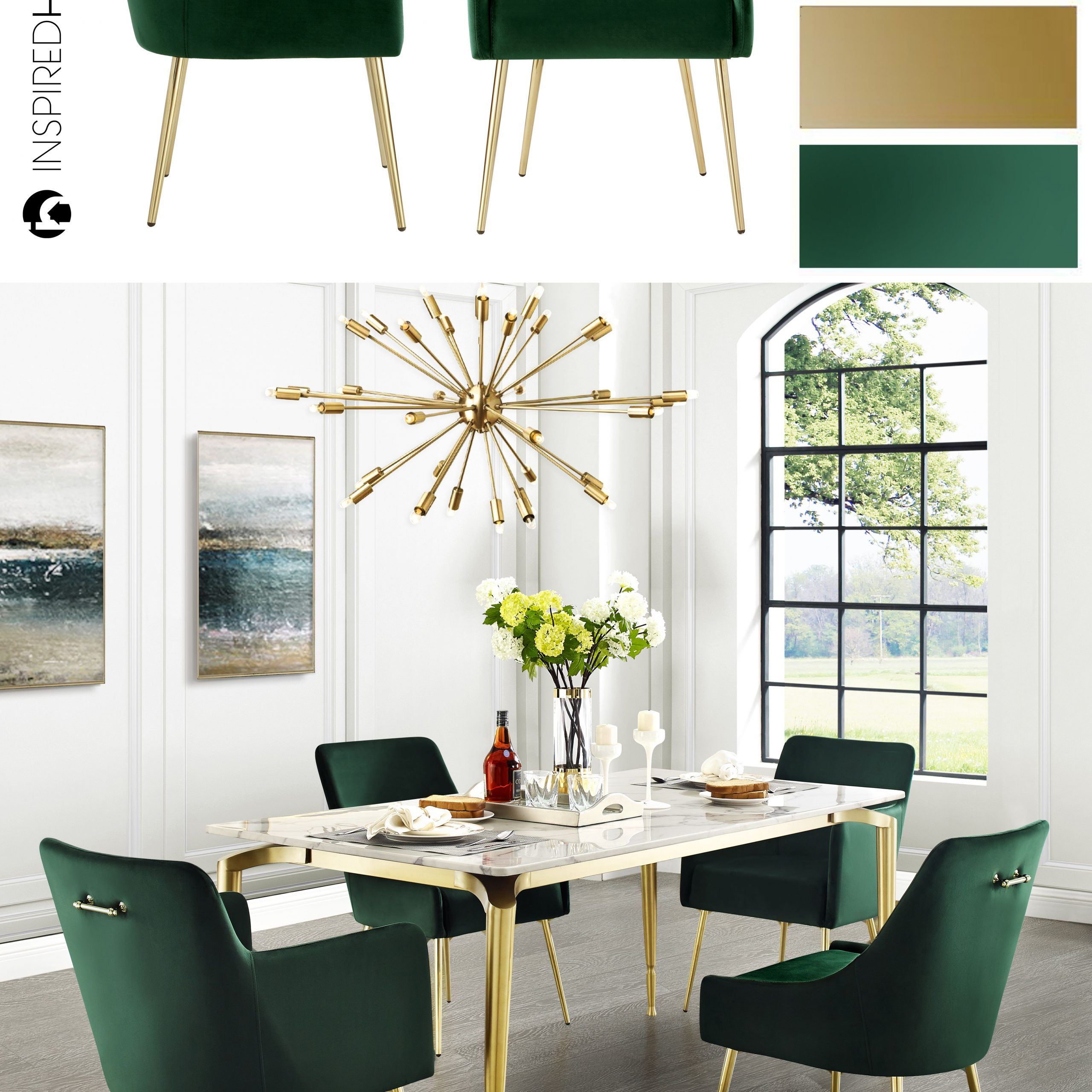 dining room table with green chairs