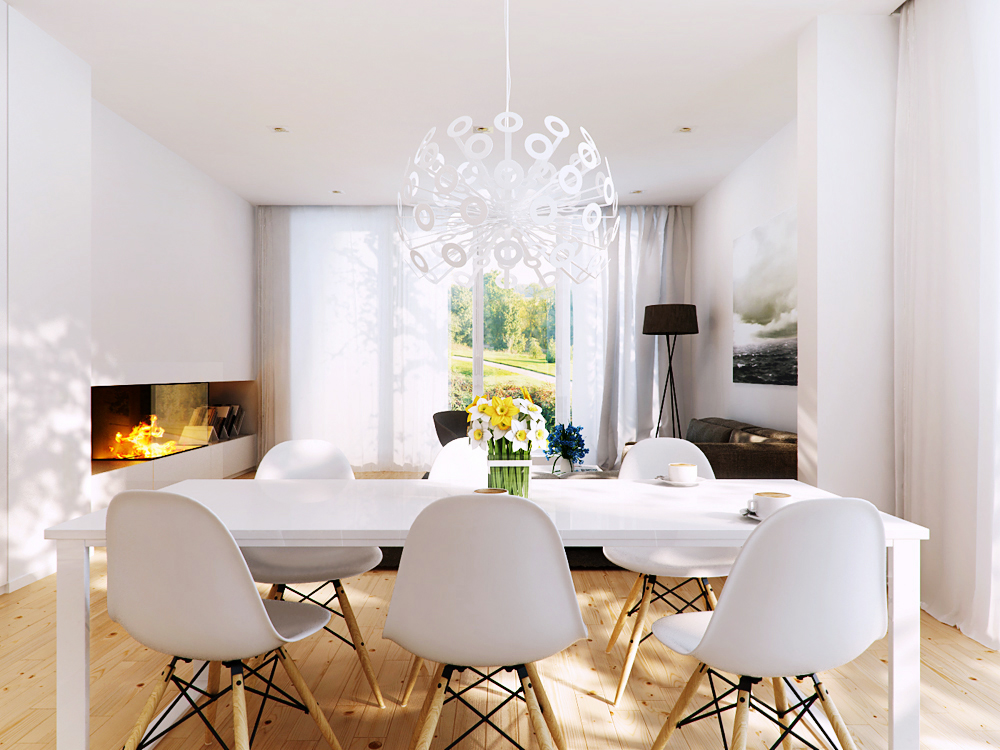 white chairs dining room