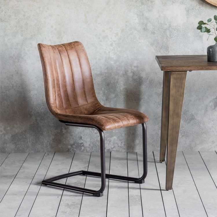 cheap brown leather dining chairs