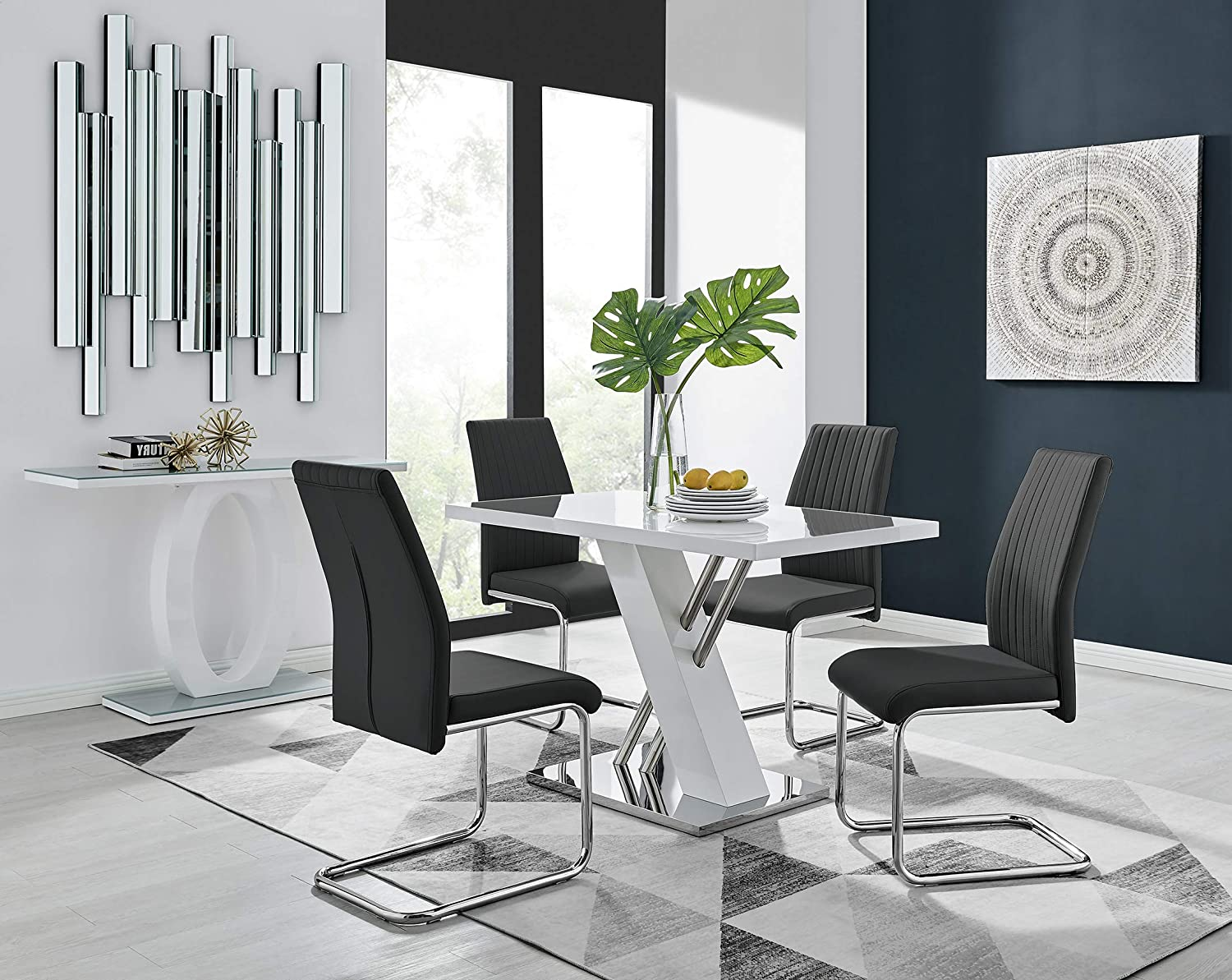 white high gloss dining chairs