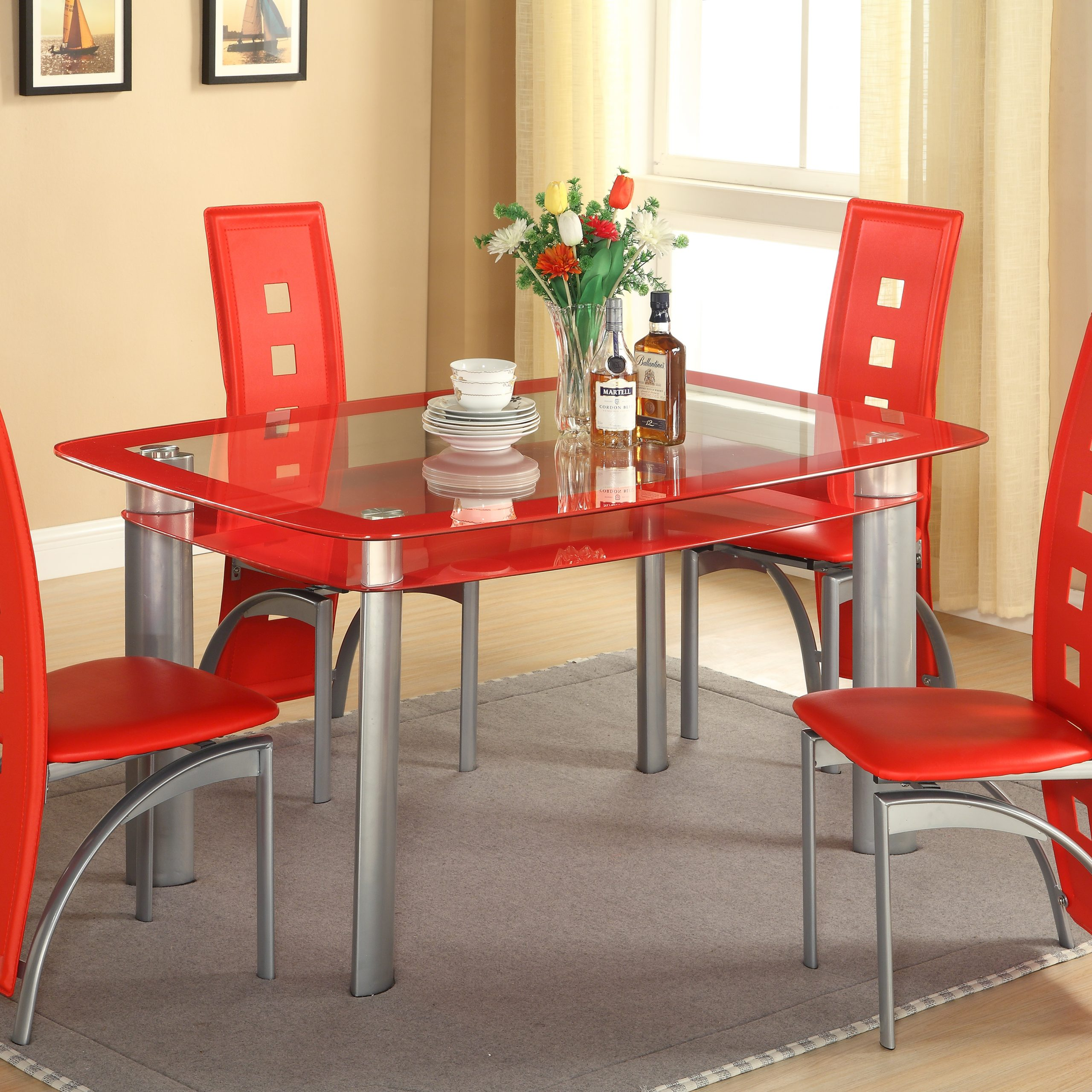 red dining table and chairs
