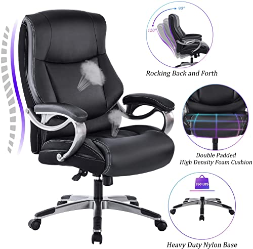 Kasorix Big And Tall Office Chiar Executive Home Office Chair With Footrest Desk Chairs With Wheels And Arms Ergonomic Adjustable Bonded Pu Leather Rolling Chair Black 9095 Home Office Furniture Home Office Chairs
