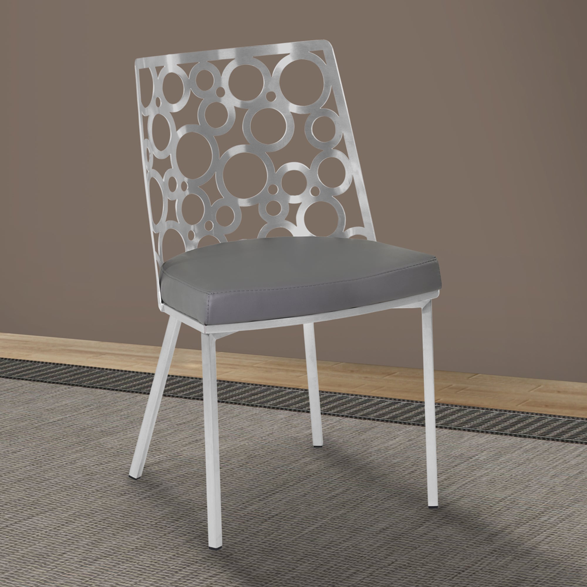 brushed stainless steel dining chairs