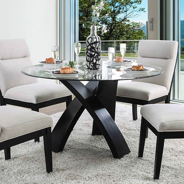 glass top round glass dining table set