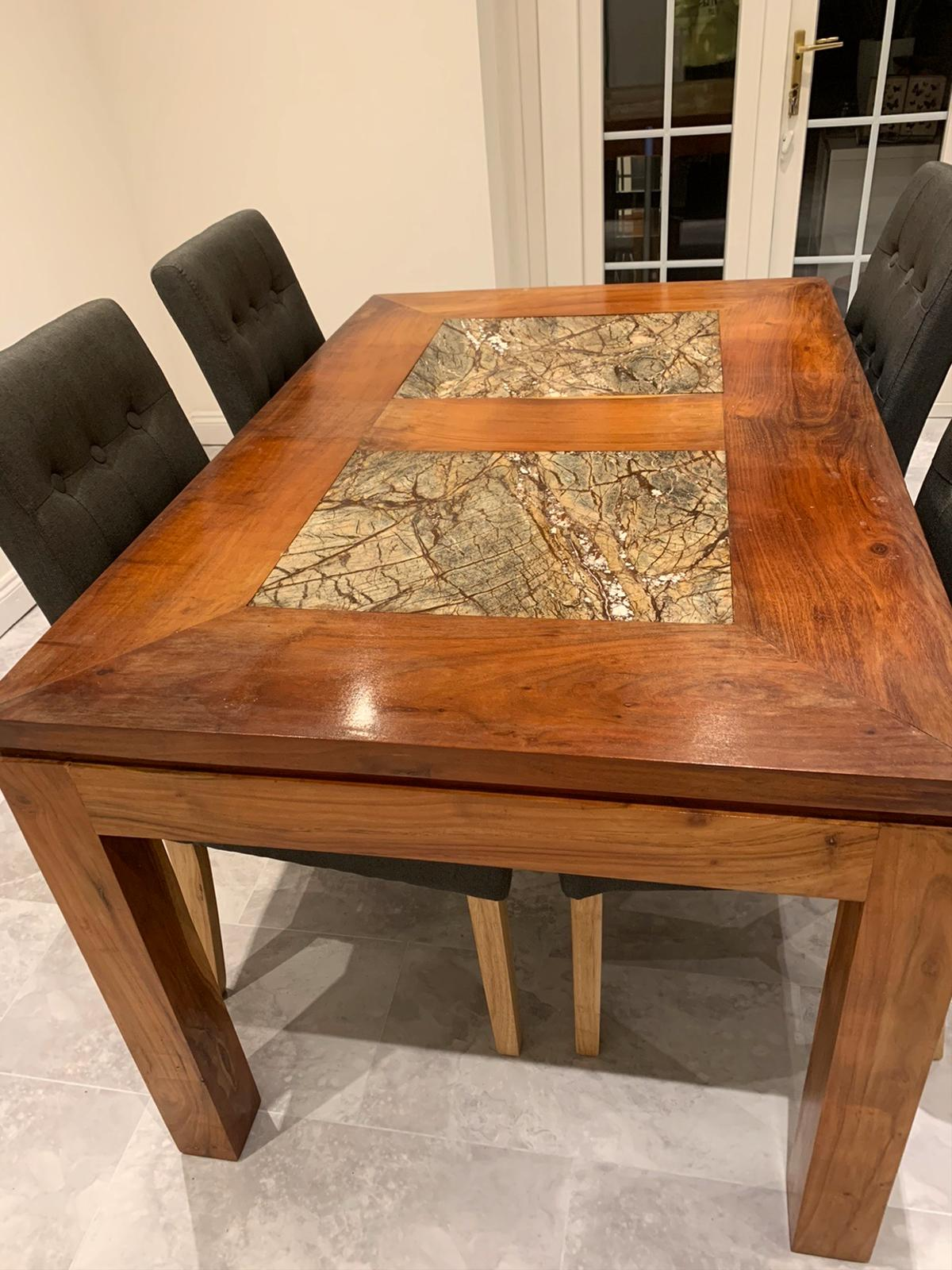 heavy wood dining table