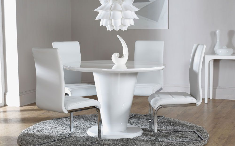 white gloss dining table set