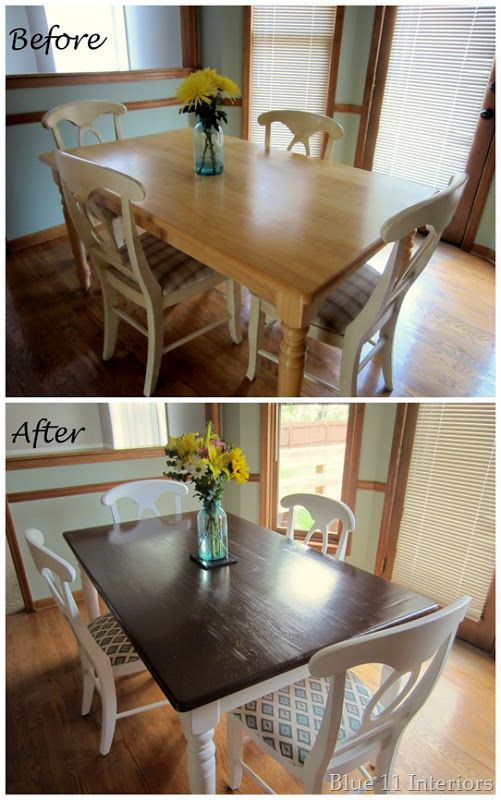 white dining table with dark wood top