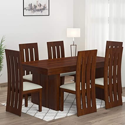 Mamta Decoration Sheesham Wood Dining Table Set With 6 Chair For Living Room Teak Finish Amazon In Home Kitchen