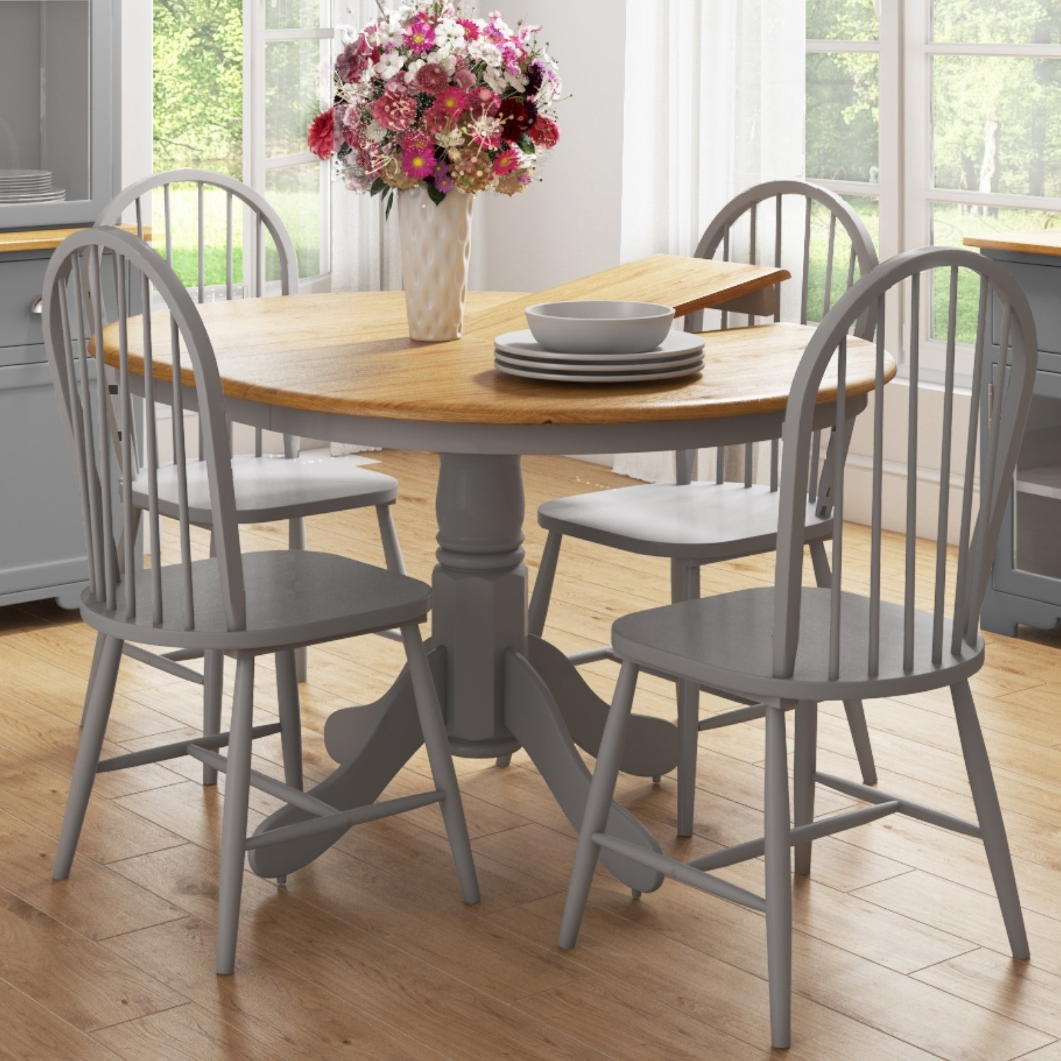 Round Extendable Dining Table Set With 4 Grey Wooden Dining Chairs Rhode Island Furniture123