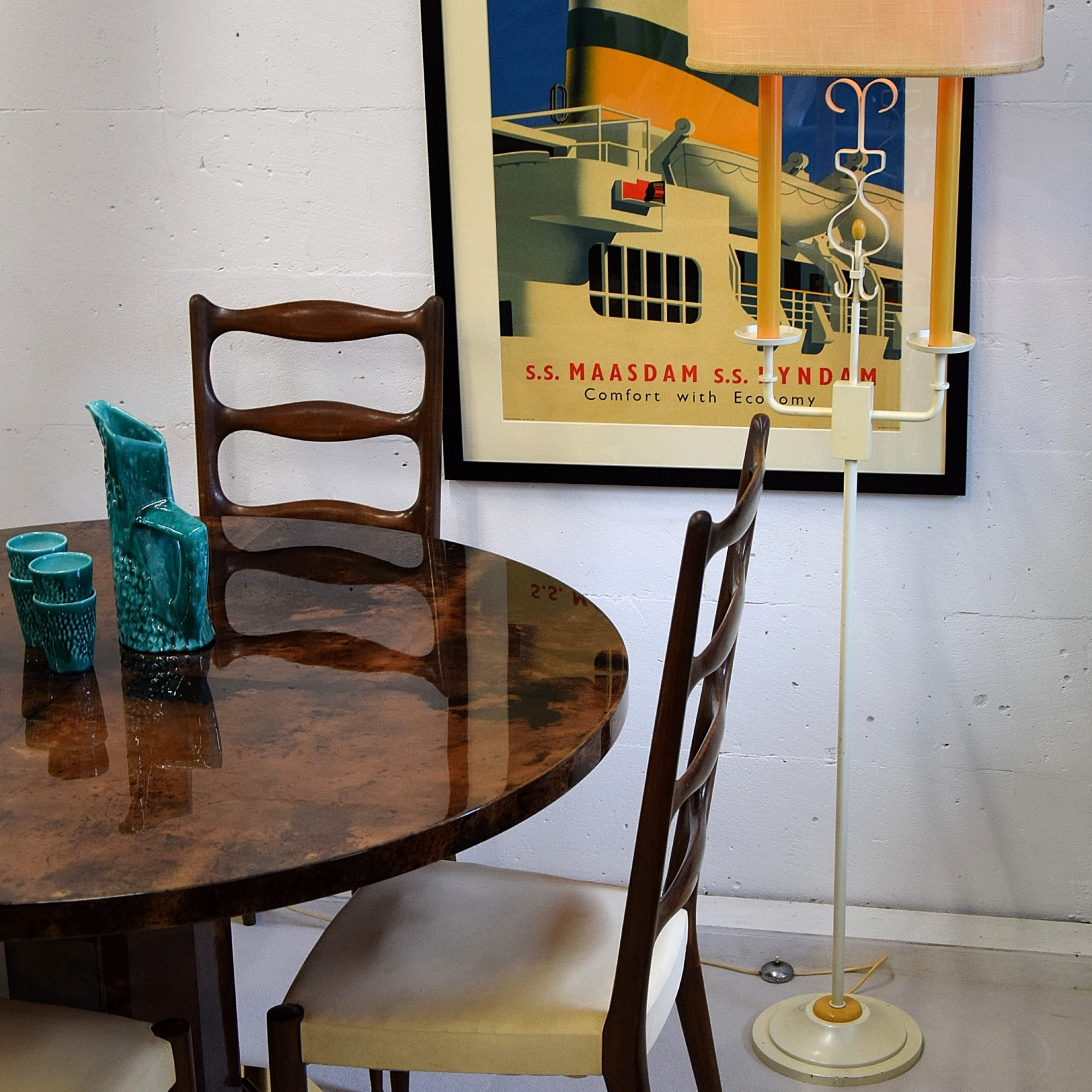 floor lamp over dining table