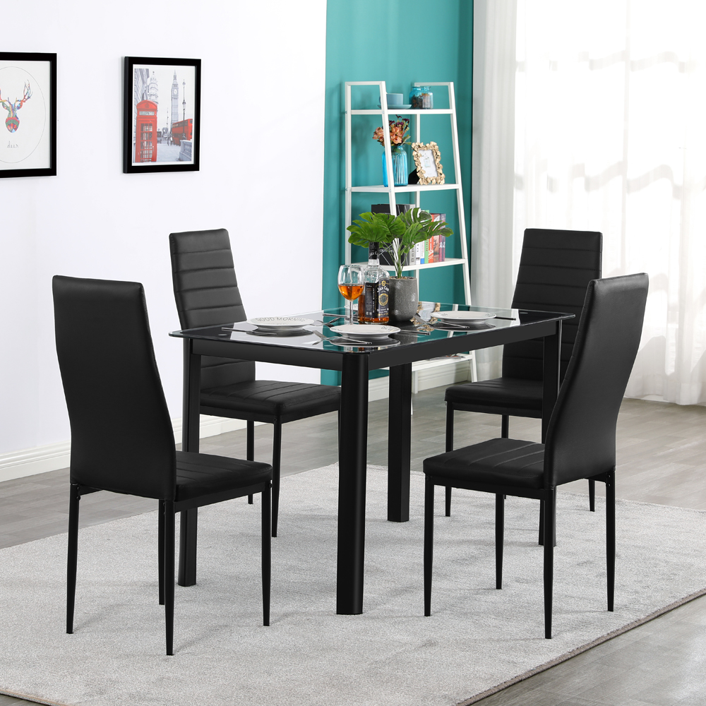 glass top dining table and chairs set