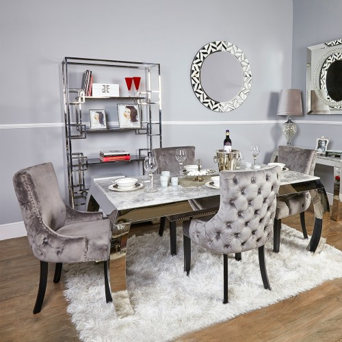 grey tufted dining chair