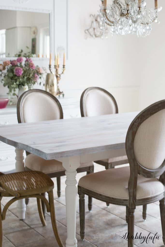 white washed pine dining table
