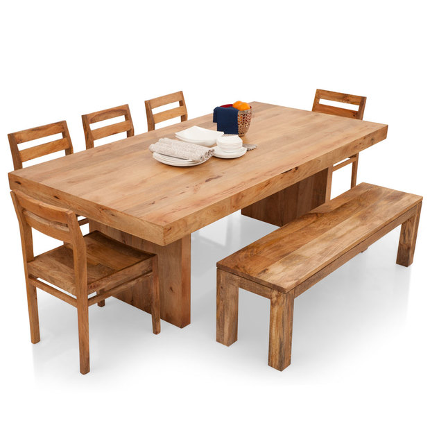 dining table set with bench and chairs