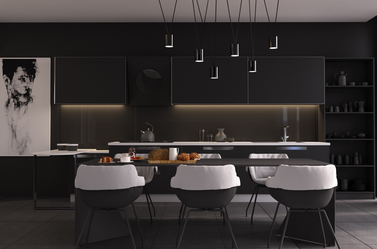 black dining room table chairs
