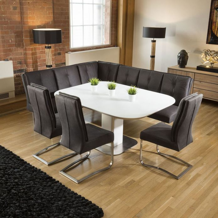corner dining table and bench set
