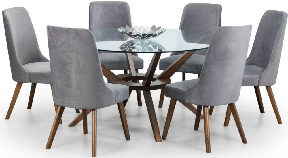 Julian Bowen Chelsea Walnut And Glass 140cm Round Dining Table And 6 Huxley Chairs Cfs Furniture Uk