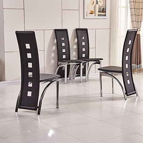 black leather high back dining chairs