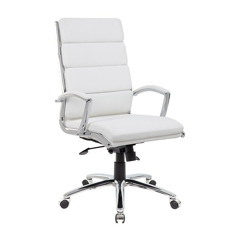 white padded office chair