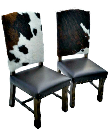 cowhide leather dining chairs