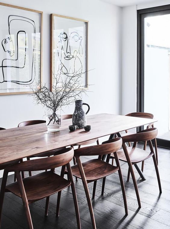 curved wood dining chair