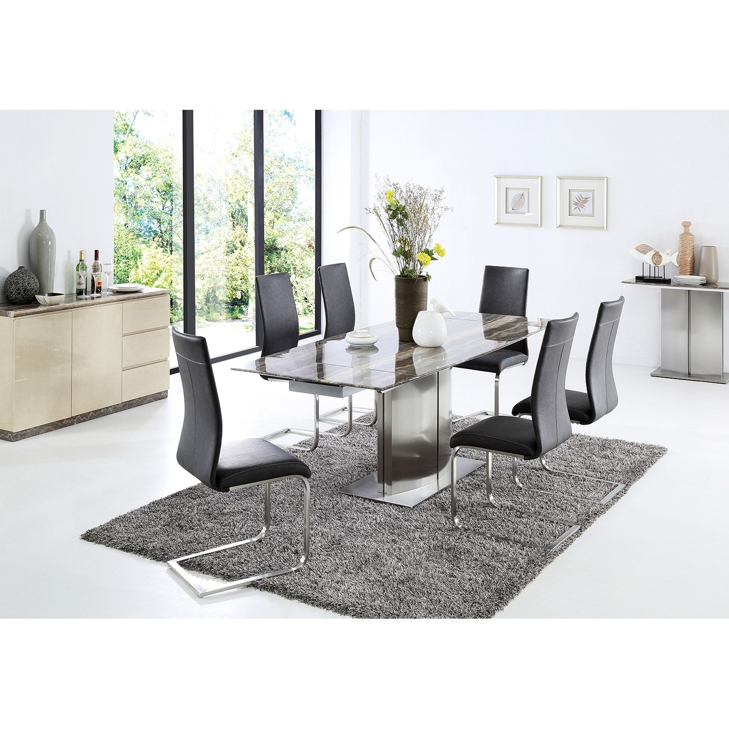 modern dining table and 6 chairs