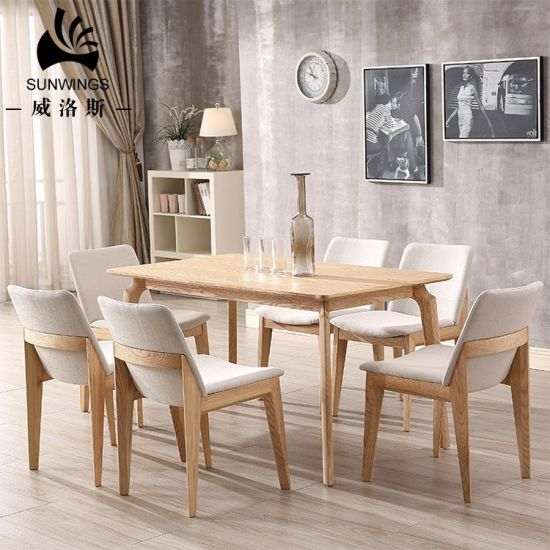 China Scandinavian Modern Designs Dining Room Furniture Solid Wood Dining Table Set 6 Chairs China Dining Chair Wooden Dining Table