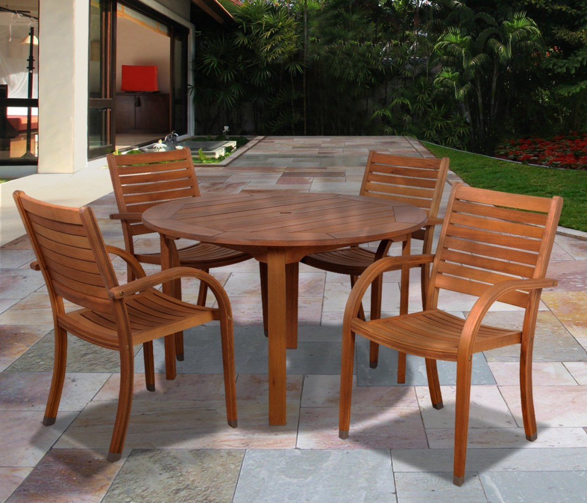round wood outdoor dining table