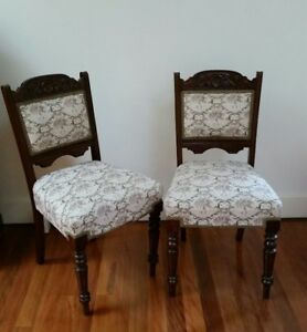 6 Antique Blackwood Upholstered Dining Chairs Ebay