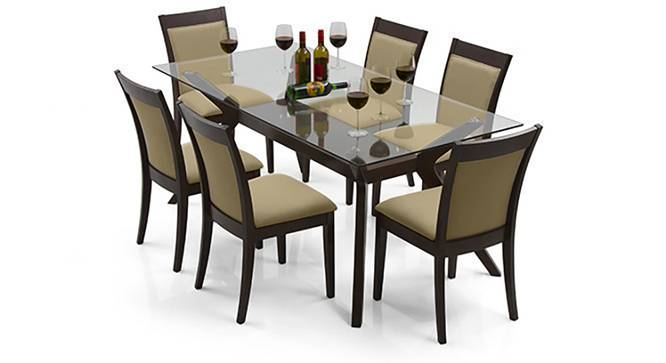 wooden glass dining table for 6